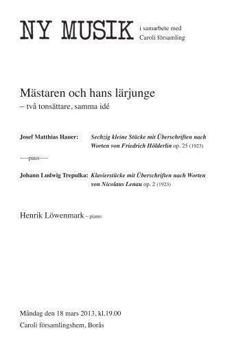 Mästaren och hans lärjunge (PDF) - Ny Musik