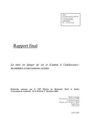 Rapport final - Mission de recherche Droit et Justice
