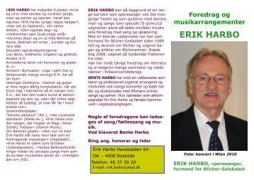 Erik Harbo foredragsbrochure - Erik Harbo operasanger