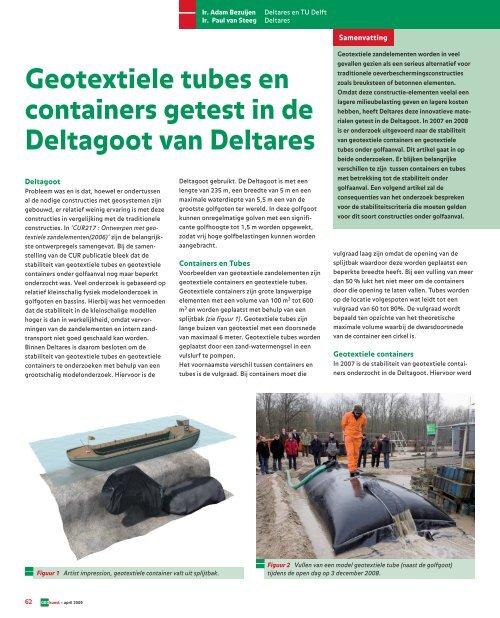 GeoKunst Geotextiele tubes en containers getest - GeoTechniek