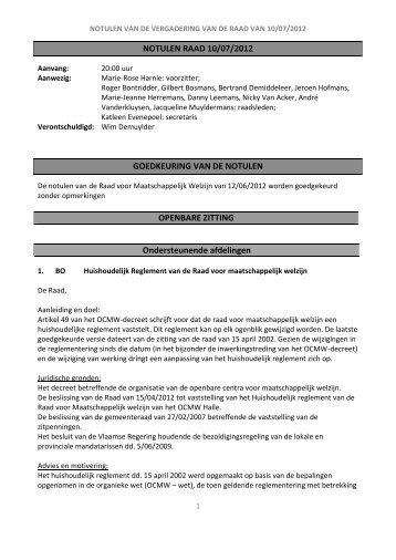 NOTULEN RAAD 10/07/2012 GOEDKEURING VAN ... - OCMW Halle