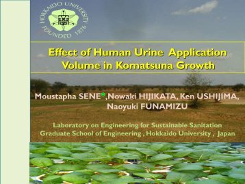 Effect of human urine application volume in Komatsuna growth