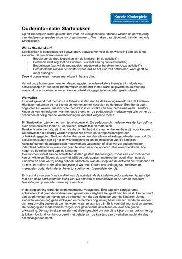 Ouderinformatie Startblokken.pdf - Korein Kinderplein
