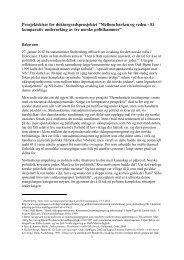 Komparativ undersøkelse av tre norske politikamre - HL-senteret