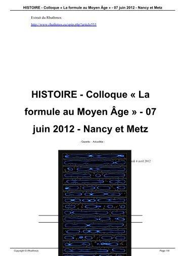 La formule au Moyen Âge » - 07 juin 2012 - Nancy et Metz - Rhuthmos