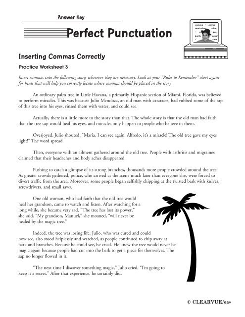 Comma Practice Worksheet Answer Key - Worksheet List
