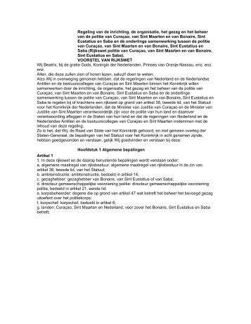 Regeling van de inrichting, de organisatie, het gezag en het beheer ...