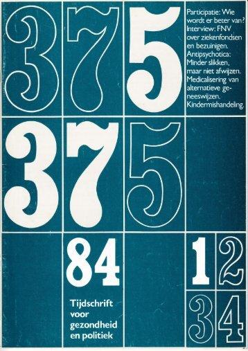 Tijdschrift Gezondheid en Politiek jaargang 1984 nr 1