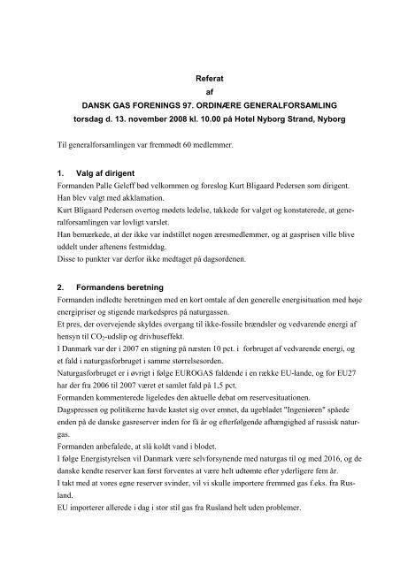 Referat af Generalforsamling - Dansk Gas Forening