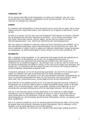 Fakta om jobbet som indhenter - Forsvarets Efterretningstjeneste