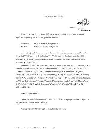 12 03 01 notulen - Gemeenteraad - Gemeente Woerden