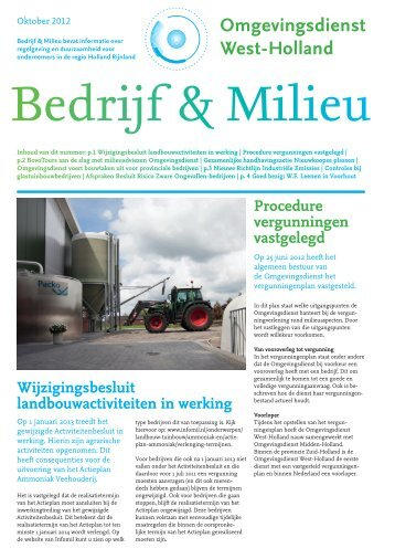 Bedrijf & Milieu - oktober 2012 - Omgevingsdienst West-Holland