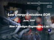 Low Energy/Emissions EOR - Iran Gas Institute