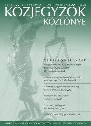 Közjegyzők közlönye 2010. 1. szám - Magyar Országos Közjegyzői ...