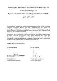 Erklärung des Aufsichtsrats und Vorstands der Beate Uhse AG zu ...