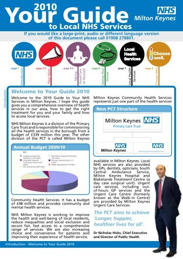 to Local NHS Services - Milton Keynes Community Health Services