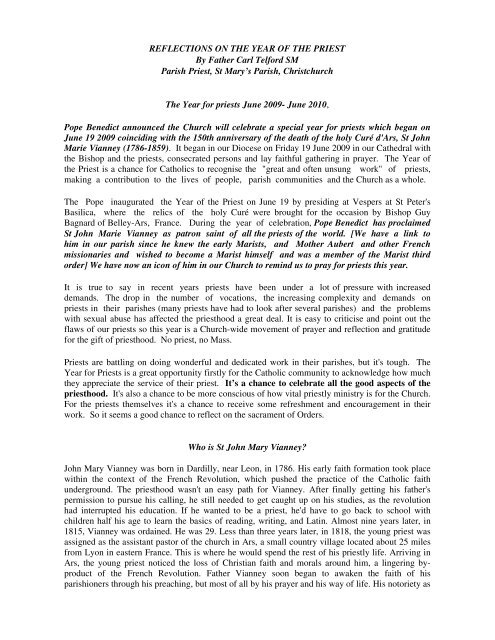 Reflections on Year of the Priest.pdf - Catholic Diocese of Christchurch