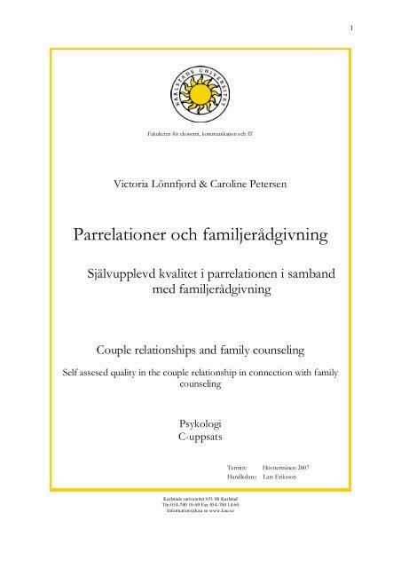 Parrelationer och familjerådgivning - Svenska föreningen för ...