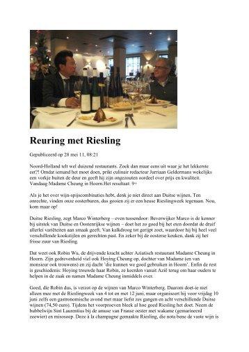 Reuring met Riesling - Madame Cheung