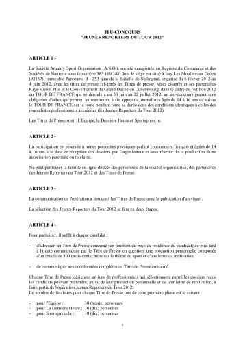 Règlement Jeunes Reporters _TDF 2012_120120 - Le Tour de France
