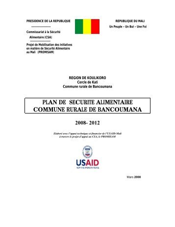 plan de securite alimentaire commune rurale de bancoumana 2008