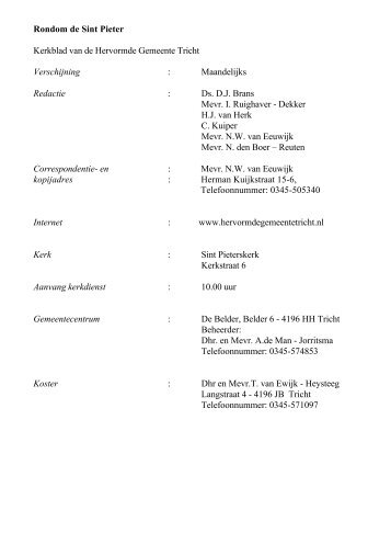 Rondom de St. Pieter (Maart 2013) - Hervormde Gemeente Tricht