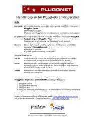 Handlingsplan för PluggNets användarstöd