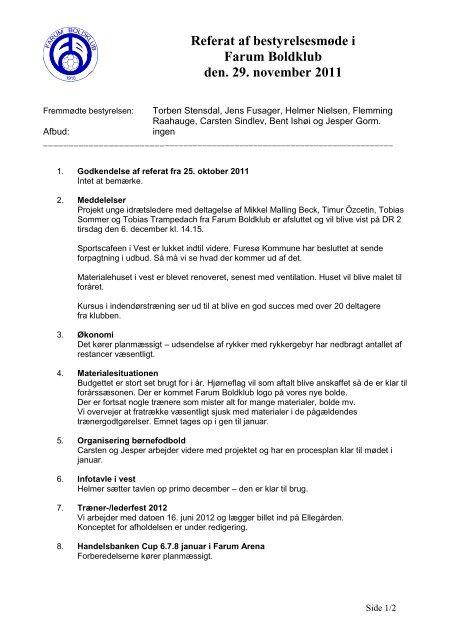 Referat af bestyrelsesmøde i Farum Boldklub den. 29. november 2011