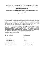 Erklärung des Aufsichtsrats und Vorstands der Beate Uhse AG zu den