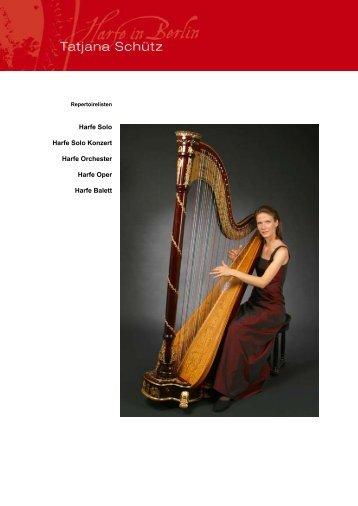 Repertoireliste Orchester - Tatjana Schütz