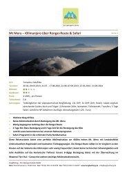 Mt Meru – Kilimanjaro über Rongai-Route & Safari - Bergfühlung