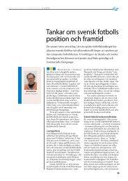 Tankar om svensk fotbolls position och framtid (2010) - GIH