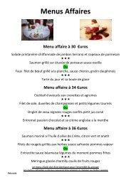 Propositions de menu - Restaurant Au Cheval Noir
