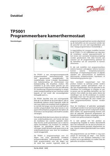 TP5001 Programmeerbare kamerthermostaat - Danfoss BV