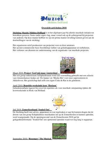 Activiteitenverslag 2010/2011 - Stichting Muziek Midden-Delfland