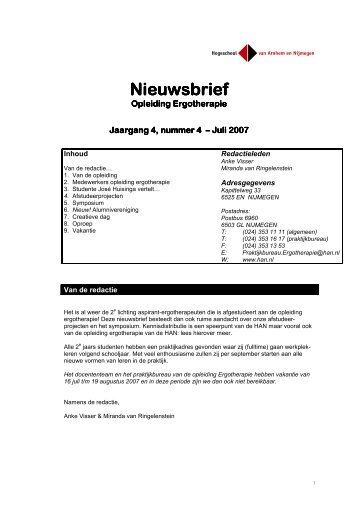 Nieuwsbrief AEN, juli 2007 - Hogeschool van Arnhem en Nijmegen