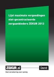 Lijst maximale vergoedingen niet-gecontracteerde ... - Zekur