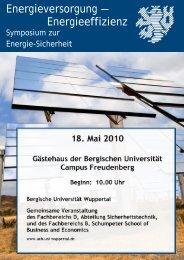 18. Mai 2010 Gästehaus der Bergischen Universität Campus ...