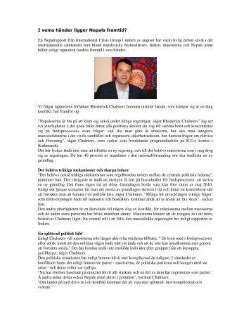 I vems händer ligger Nepals framtid? - Helsingborgsdialogen