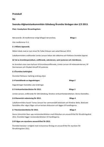 Protokoll årsmöte 2013PDF - Svenska Afghanistankommittén