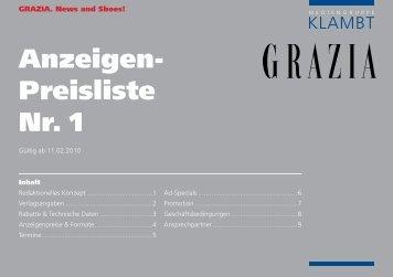 Anzeigen- Preisliste Nr. 1 - Klambt-Verlag