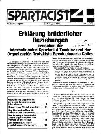 Spartacist 4 - August (1976) - International Bolshevik Tendency
