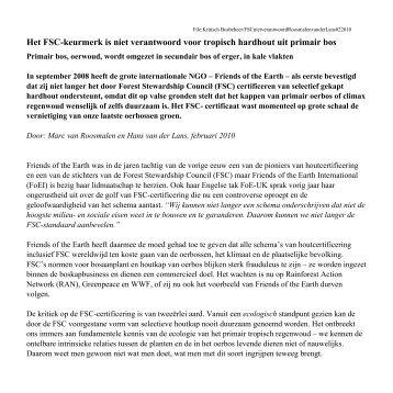 FSC-hout niet verantwoord - Natuurplatform Drentsche Aa