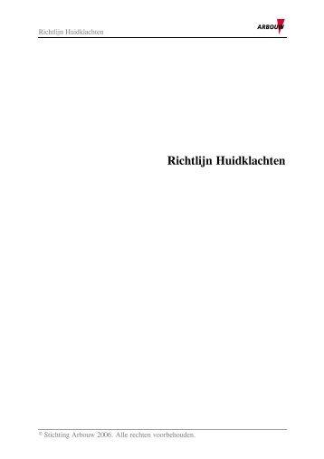 Richtlijn Huidklachten (PDF) - Arbouw