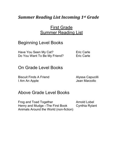 Summer Reading List Incoming 1st Grade First Grade Summer