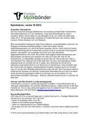Nyhetsbrev vecka 10 2012 - Sveriges Mjölkbönder