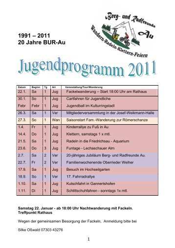 1991 – 2011 20 Jahre BUR-Au - Berg und Radfreunde Au
