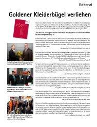 Goldener Kleiderbügel verliehen - beim SN-Fachpresse Verlag