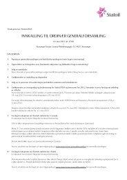Innkalling til ordinær generalforsamling 2013 - Statoil