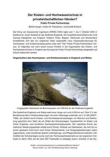 Der Küsten- und Hochwasserschutz in privatwirtschaftlichen Händen?